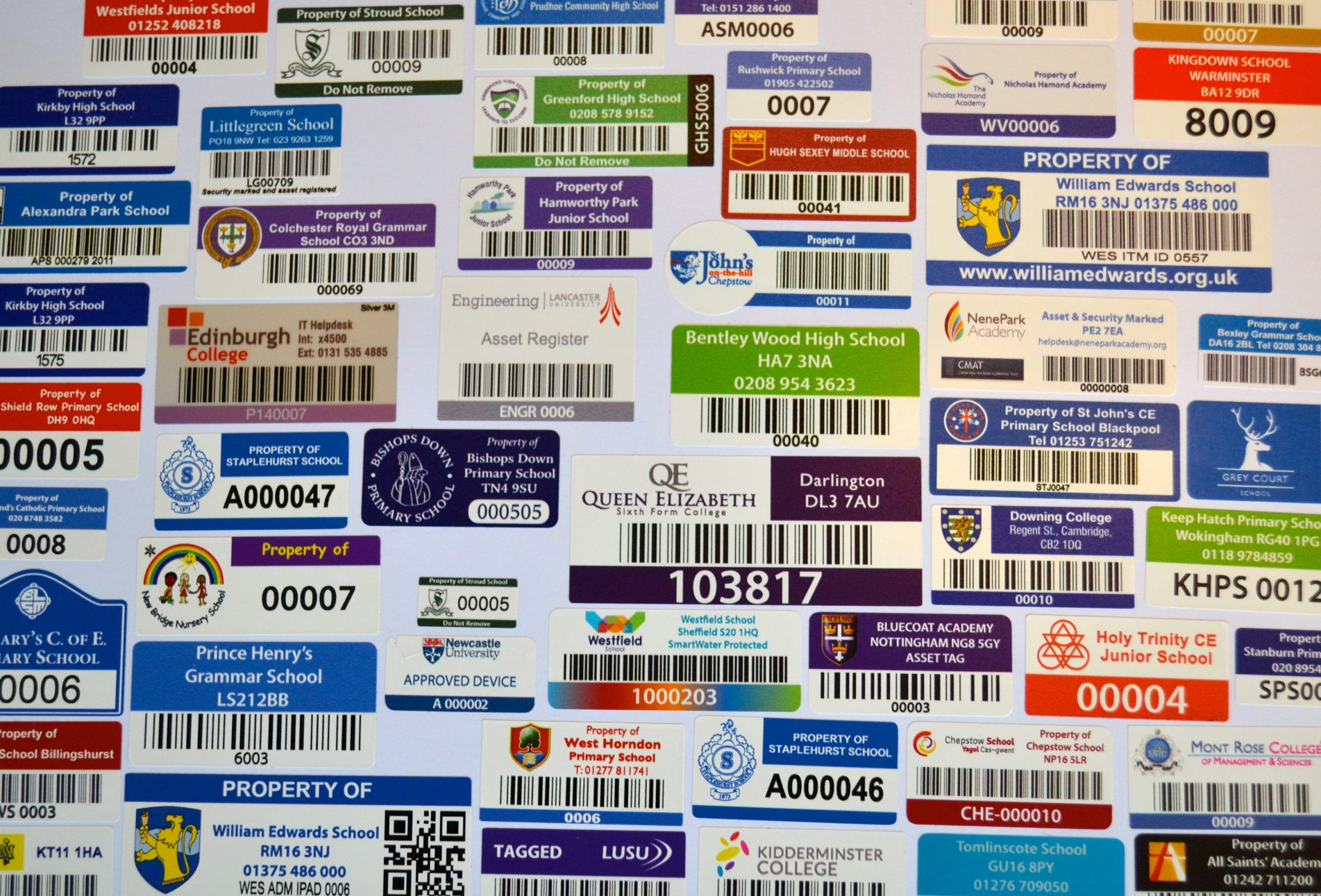 School asset label stickers