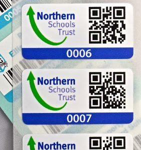 Asset label sticker with QR code