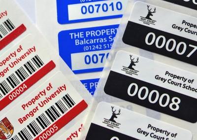 School and uni asset labels