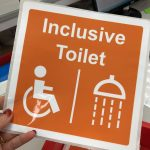 Inclusive Toilet durable sticky label