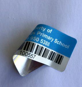 metallised asset barcode label